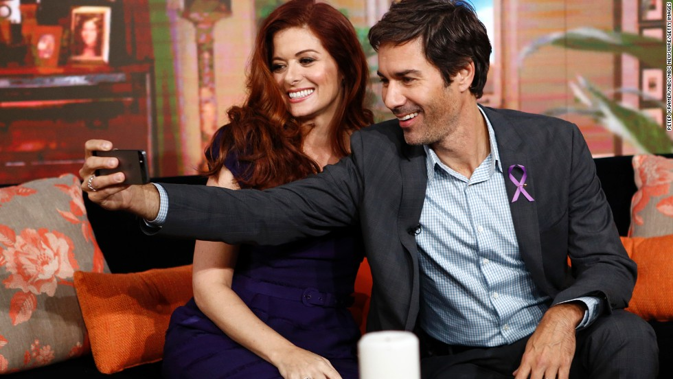 "Actors Eric McCormack and Debra Messing take a selfie while appearing on NBC's ""Today"" show."