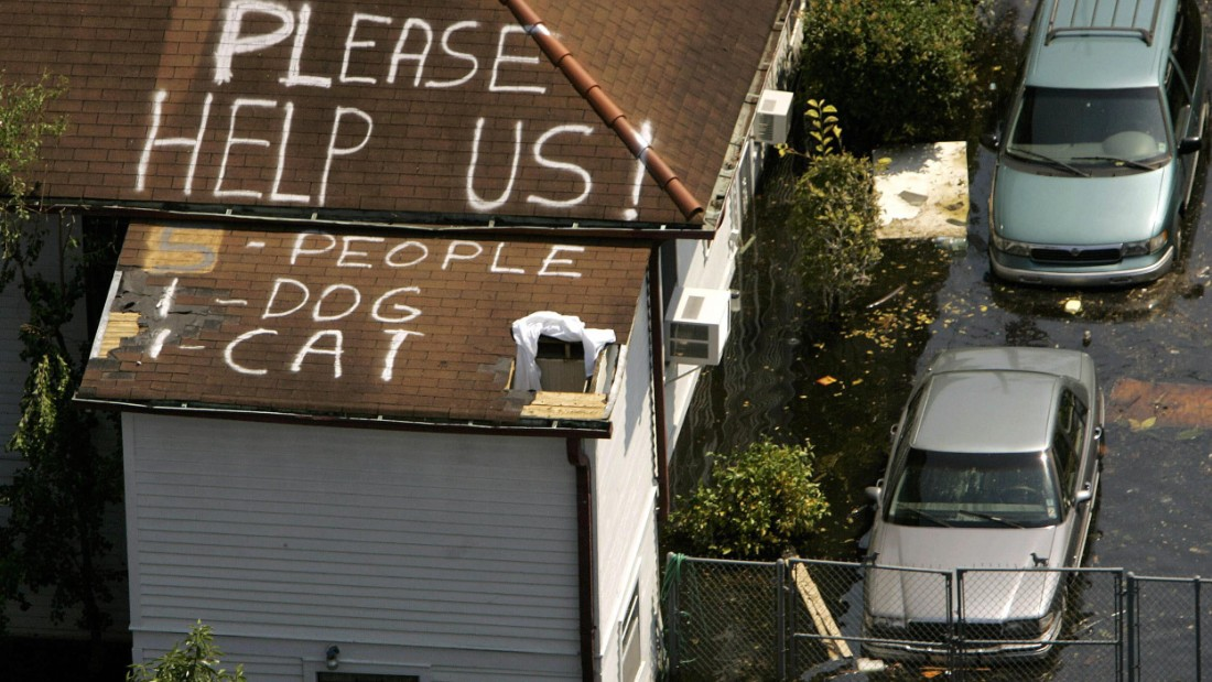 A plea for help on a New Orleans rooftop, days after Hurricane Katrina struck the city in 2005.