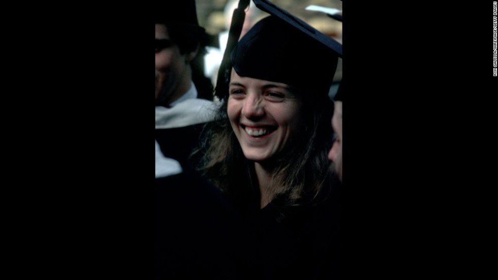 Kennedy attends her graduation ceremony at Harvard University in 1980.