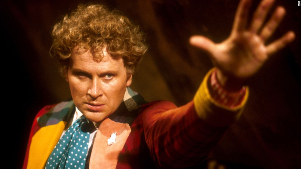 The no-nonsense Sixth Doctor, Colin Baker, took over in 1984. Despite his outlandish, colorful costume, he was one of the least approachable-seeming Doctors.