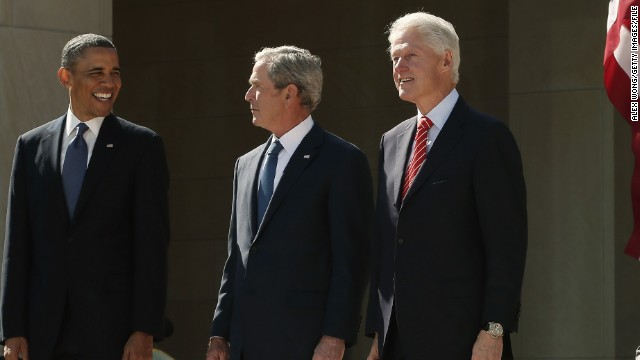 President Barack Obama with ex-Presidents George W. Bush, Bill Clinton, George H.W. Bush and Jimmy Carter  in Dallas.