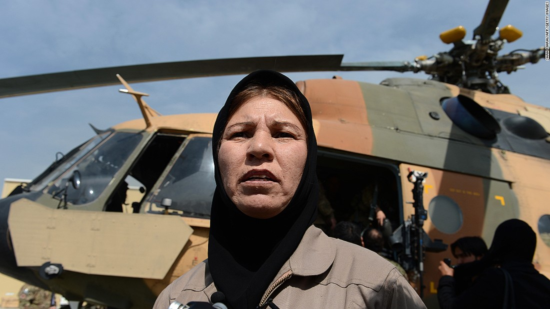 Female pilots exist even in countries with a contentious track record regarding women's rights. Latifa Nabizada (pictured) is Afghanistan's first woman military helicopter pilot.