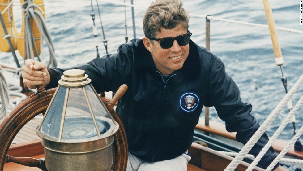 Like many members of the Kennedy family, John F. Kennedy loved sailing and was frequently photographed at sea with his wife, young children and other relatives.