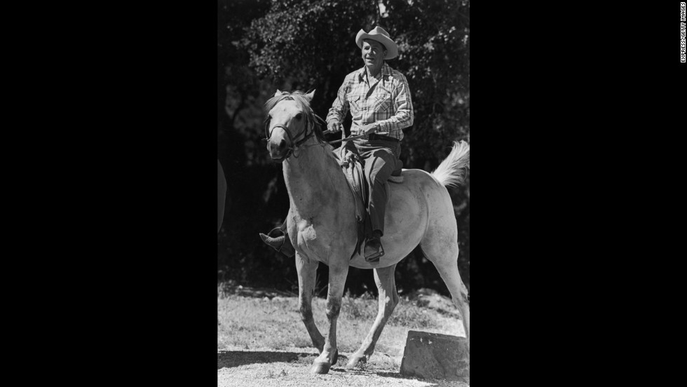 Ronald Reagan enjoyed riding horses at his ranch near Santa Barbara, California.