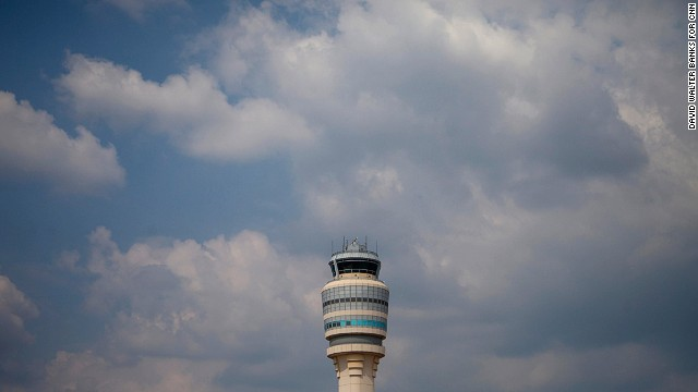 A view of the air traffic control tower at the Atlanta airport.