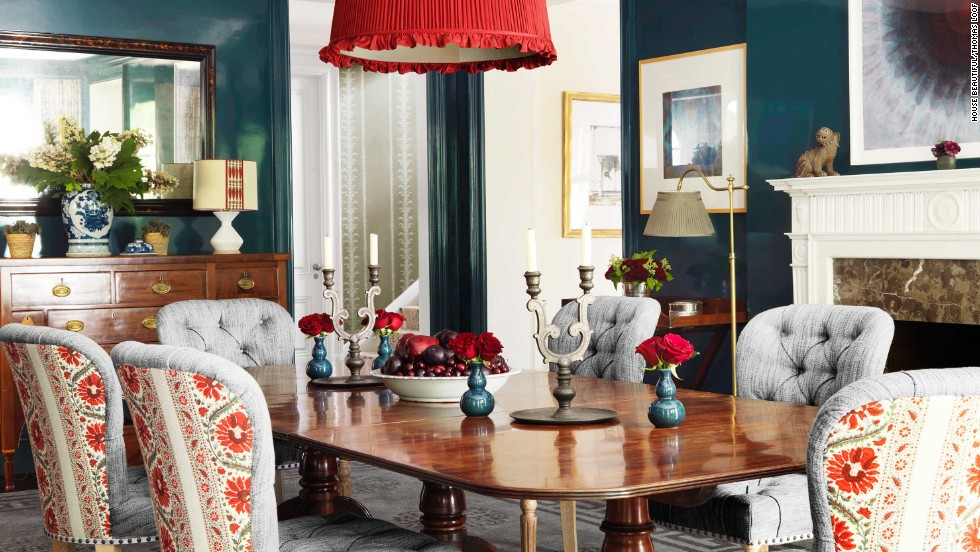 This dining room, decorated by Markham Roberts and featured in the November 2013 issue of House Beautiful, has traditional style and bold color.