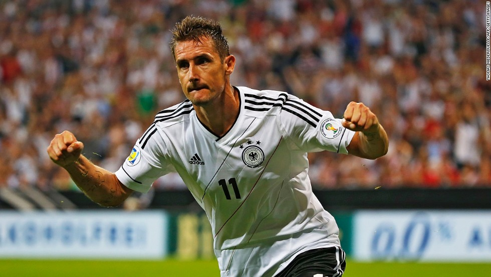Miroslav Klose, 35, looks set to feature in a fourth World Cup after helping Germany cruise through qualifying. Klose is the country's joint-top scorer on 68 goals alongside Gerd Muller.