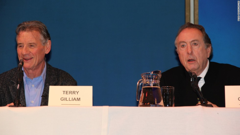 Michael Palin, left, joked that after making eight series of TV travel programs, he'd welcome a Python world tour.