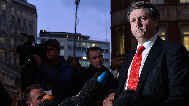"""Detective Inspector Kevin Hyland addresses the media outside New Scotalnd Yard in London on November 21, 2013, during a press meet concerning the rescue of three women believed to have been held as slaves for 30 years in a South London house. British police rescued three women from a house in London where they are believed to have been held as slaves for at least 30 years. Scotland Yard police headquarters said the victims were a 69-year-old Malaysian, a 57-year-old Irish woman and a 30-year-old Briton. The women were described as """"highly traumatised"""". Detectives arrested a 67-year-old man and a 67-year-old woman at their home in south London.AFP PHOTO / BEN STANSALLBEN STANSALL/AFP/Getty Images"""