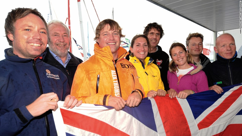 Steve White (second from right) with other Brits in the 2008-09 Vendee Globe and Knox-Johnston (second from left). White faced a battle just to fund his entry but finished a creditable eighth.
