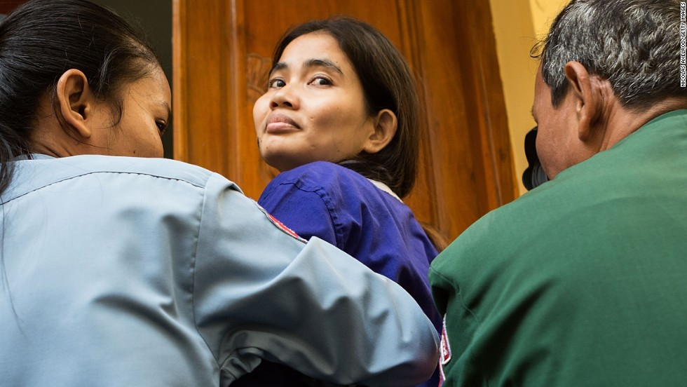 "NOVEMBER 22 - PHNOM PENH, CAMBODIA : Activist Yorm Bopha arrives at court for her appeal trial. Declared a prisoner of conscience by Amnesty International, Bopha has been granted bail after 444 days in jail. She opposes<a href=""http://www.cnn.com/2011/11/25/world/asia/cambodia-property-development-controversy/""> land grabs by the Cambodian government</a>, which has forcibly evicted over 700,000 people over the past decade."