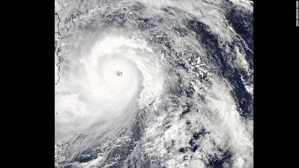 Super Typhoon Haiyan lashing the Philippines, taken from NASA's Aqua satellite on November 7.