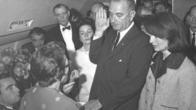 LBJ sworn in on Air Force One