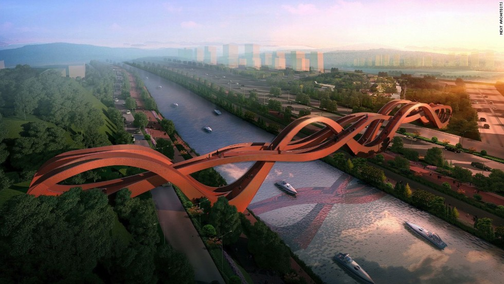 The pedestrian walkway across Meixi Lake in Changsha, China, is modeled after the Möbius strip, a never-ending form whose end connects to its beginning. The sinuous footbridge will have multiple pathways, and construction is expected to start in 2014.