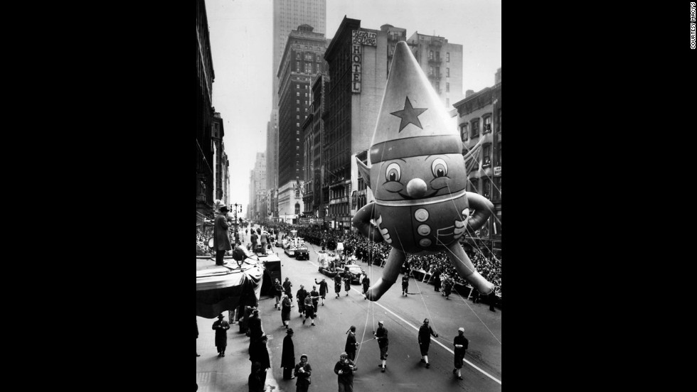 "An elf gnome smiles at the camera in 1947. Hurray! The parade went live for the first time locally in 1946 and nationally in 1947. It first appeared on CBS, but NBC has been the official broadcaster since the 1950s. There have been a variety of hosts for NBC's coverage of the parade, including ""Bonanza"" star Lorne Greene, Betty White, Ed McMahon, Bryant Gumbel, ""Today"" host Willard Scott, Wheat Thins spokesperson Sandy Duncan, Katie Couric, ""Today"" anchors Meredith Vieira, Ann Curry, Matt Lauer and weatherman Al Roker."