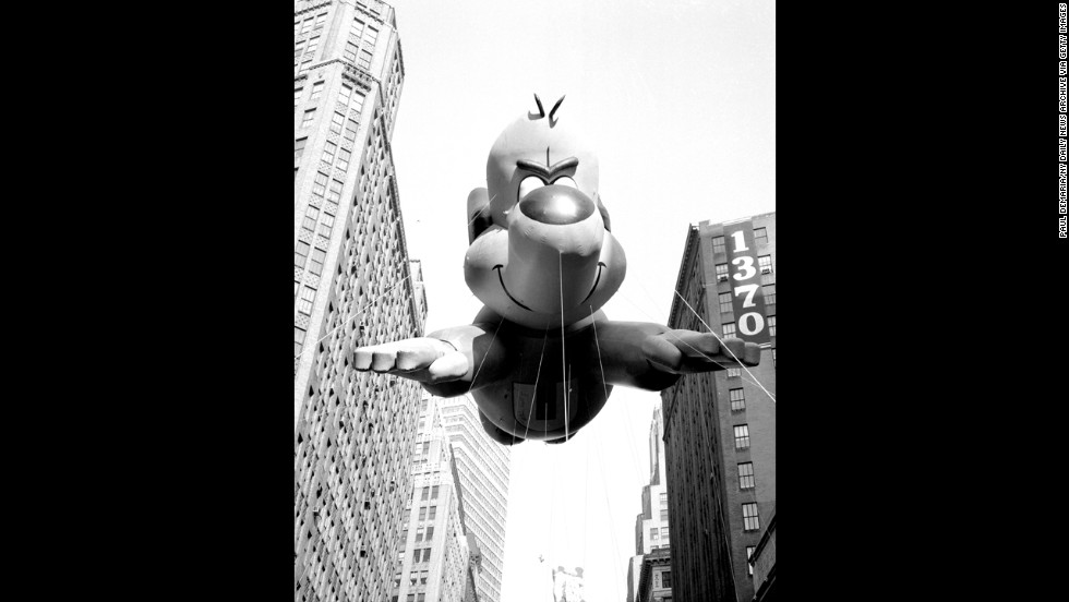 """There's no need to fear, Underdog is here!"" flying above the crowds in 1965."
