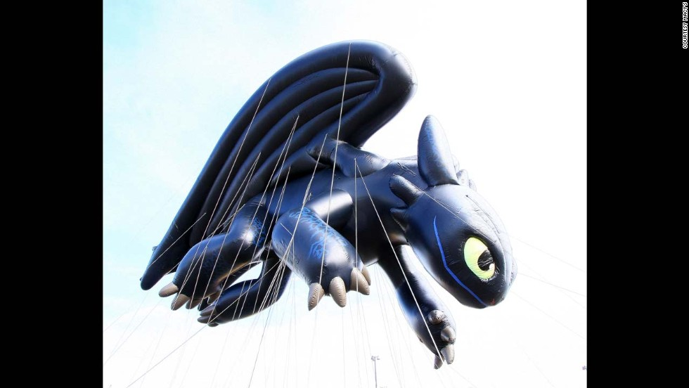 "Also brand new to the scene, Toothless from ""How to Train Your Dragon"" will debut in the 2013 parade. Toothless is four stories tall, as long as 12 bicycles, as wide as seven taxi cabs and requires 90 handlers."