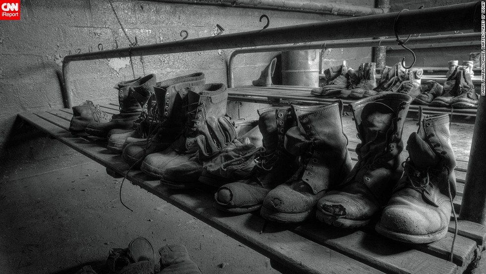 These dusty boots are just a few of the forgotten artifacts they found in this coal-breaking plant in Pennsylvania.