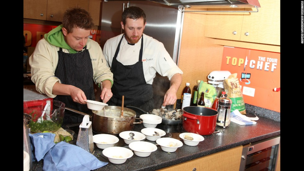 "Blais, left, and fellow ""Top Chef"" contestant Andrew D'Ambrosi demonstrate at a ""Top Chef"" interactive cooking show in New York in 2008."