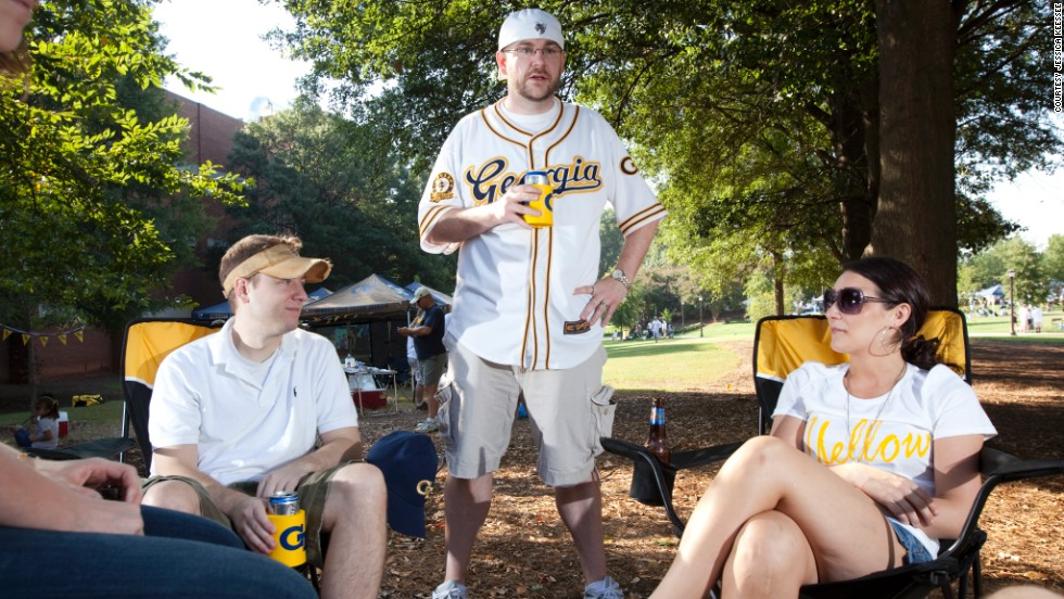 The tailgating atmosphere at Georgia Tech home games is more upscale luncheon than rowdy parking lot free-for-all.