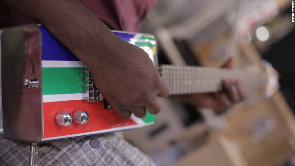Called Township Guitars, the eye-catching six-strings come in different designs, with some covered in the colors of the South African flag.