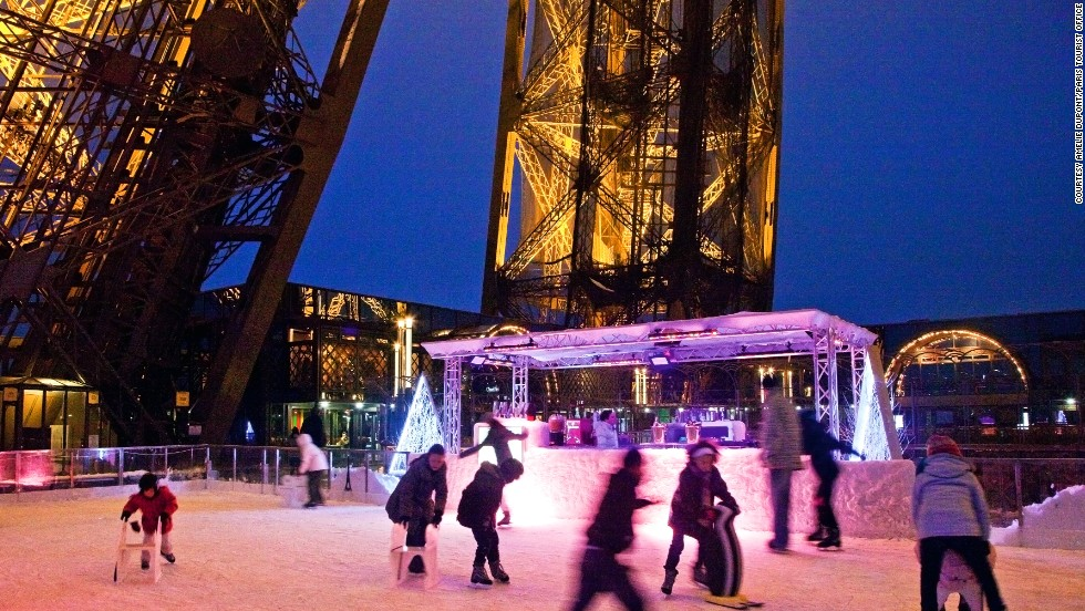 Paris' picturesque rink is on the tower's first level, about 60 meters above the Champs de Mars, and is included in the tower admission price. It opened in 1969 and was recently completely refurbished. Skate rental is available on site.