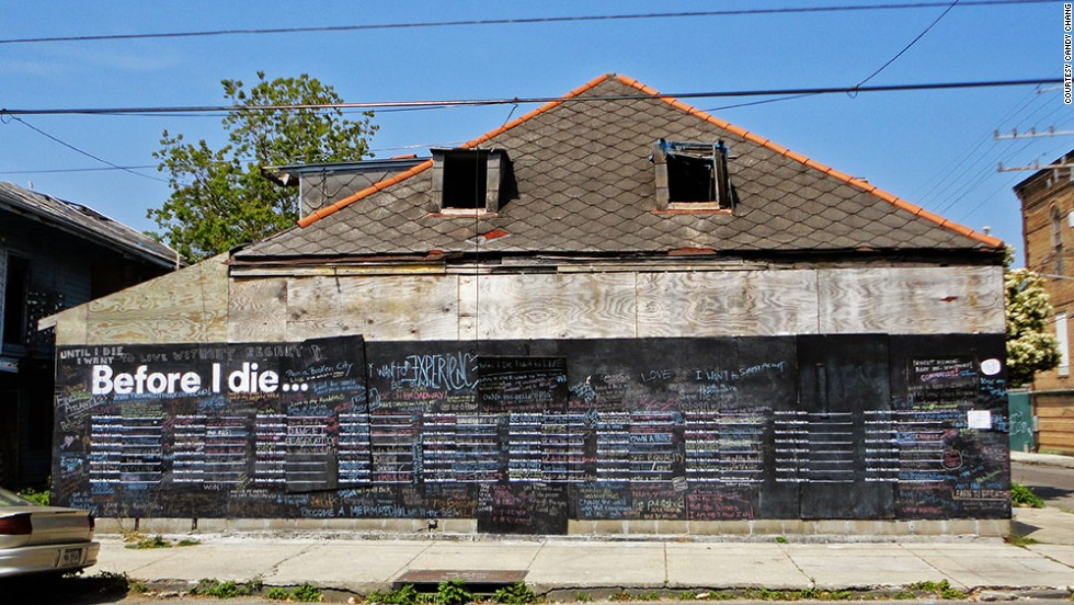 "Candy Chang created the first ""Before I Die"" wall in 2011 on the side of an abandoned building in New Orleans. It disappeared a few months later when a developer bought the structure. Since then, more than 400 walls have sprung up in 60 countries, from Afghanistan to Chile. Check out some of the hopes and dreams being shared on walls around the globe:"