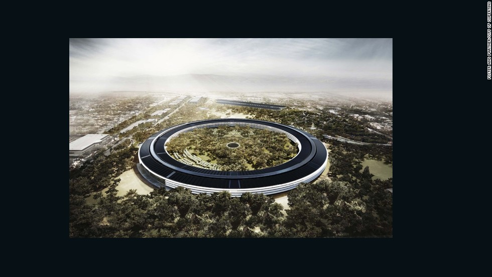 "The design for Apple's new headquarters looks more suited to the set of ""Star Wars' than Cupertino, California. The round structure has been compared to a space ship and the tree-filled central green space is the size of a small forest. Let's hope GPS systems are included in employee benefits."