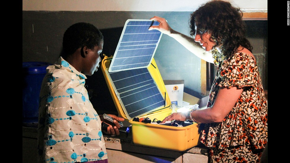 "The solar suitcases have ""shifted the morale of the health-care worker,"" Stachel said. ""They're now excited to come to work. ... Mothers are now eager to come to the clinics."""