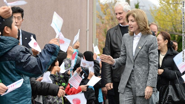 New U.S. ambassador to Japan, Caroline Kennedy, visits a school in a tsunami-hit area last month.