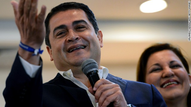 Honduras ruling right-wing National Party presidential candidate Juan Orlando Hernandez answers questions from the press in Tegucigalpa, on November 25, 2013. Political tension loomed over violence-torn Honduras on Monday as the conservative candidate led the early count in presidential elections while his leftist opponents claimed fraud. Hernandez declared himself the winner with 34 percent of the vote, after 54 percent of ballots were counted.