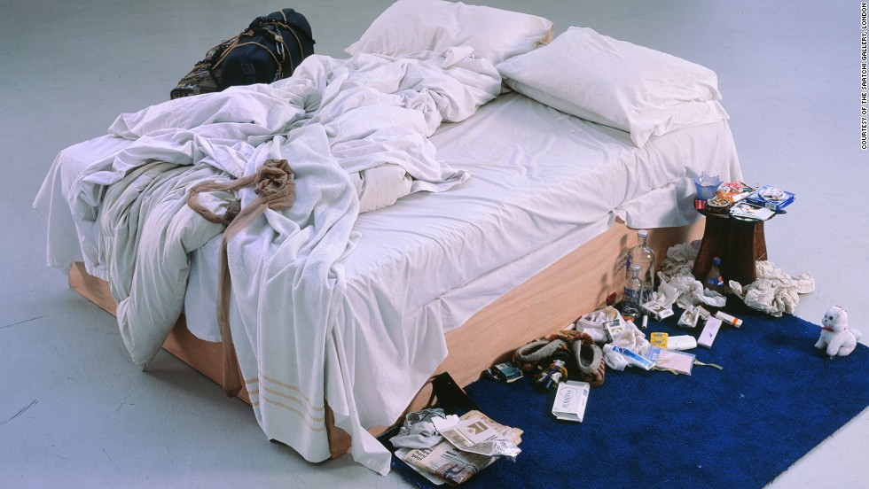 "<em>My Bed (1998), Tracey Emin</em><br /><br />But there is a negative side to notoriety. Tracey Emin's Turner-nominated instillation ""My Bed"" -- complete with an ashtray full of cigarettes, dirty knickers and used condoms -- <a href=""http://edition.cnn.com/2014/07/01/us/unmade-bed-art/"">sold for more than $4 million at auction</a>, but some still consider her success illegitimate because of the controversy that has surrounded her work, and the celebrity it has inspired. <br /><br />""(Emin) is not someone who worries about her finances anymore -- and that's really saying something for a contemporary artist ... but people assume she's over-valued in some ways,"" Kokoli says. ""She's somebody who is very much begrudged her success because people in the art world and other artists feel she has had a lot more exposure than she deserves."""