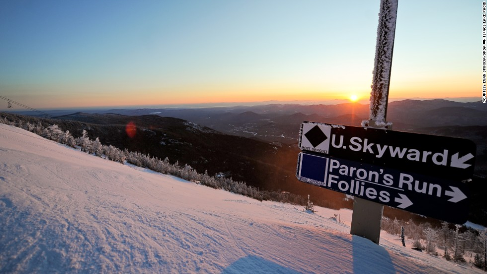 Pros flock to Skyward for the steep open run and unbeatable views over the Adirondacks' snow-dusted forests.