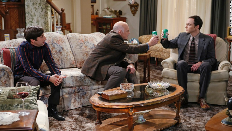"In this year's Thanksgiving episode of ""The Big Bang Theory,"" the gang heads off to Howard's  (Simon Helberg, left) mother's house for a memorable Thanksgiving. Sheldon (Jim Parsons, right) spends the afternoon getting drunk with Howard's father-in-law (Casey Sander, center) as the two mock Howard."