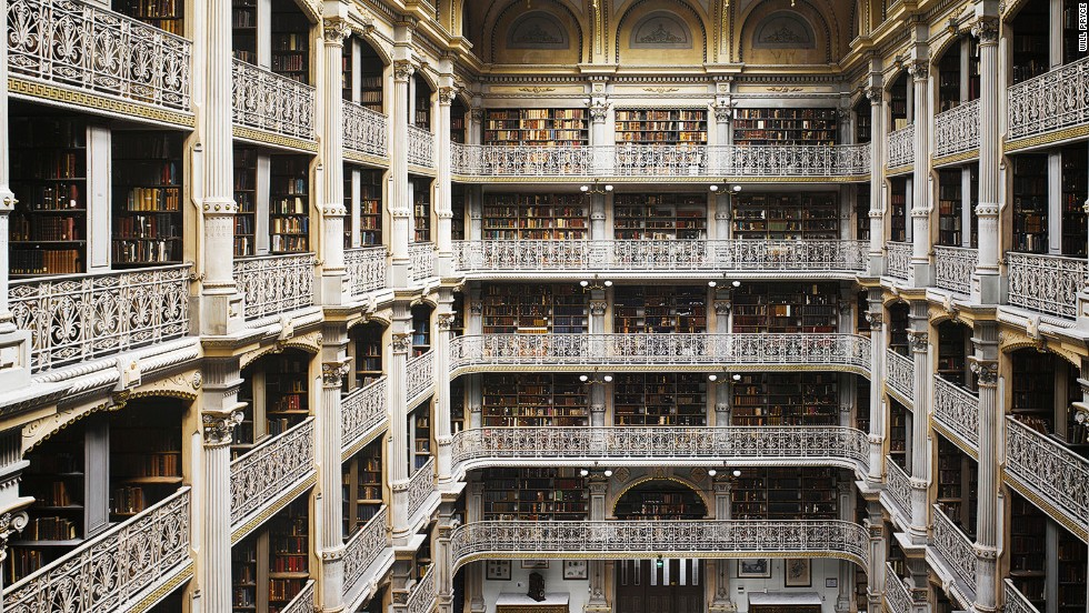 "<em>The Peabody Library, Baltimore, U.S.</em><br /><strong><br />Will Pryce</strong>: ""This is an extraordinary space, a temple to the industrial age which creates an almost cathedral-like effect. There are thousands of books wherever you look and gorgeous ornate balustrades. Despite all the classical details it's actually made of iron and spans the weight of this huge library above the concert hall below.""<br />"