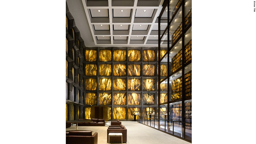 "<em>Beinecke Rare Book and Manuscript Library, New Haven, U.S.</em><br /><strong><br />James Campbel</strong>l: ""Outside it looks like a white box, so there is an element of surprise when you go in. All light comes through the stones in the wall, and the honey-color trickle of sun rays makes it magical. It is one of the largest buildings in the world devoted entirely to rare books and manuscripts, and it is celebrating its 50th anniversary this year. The elegance of the Beinecke later inspired the glass-walled structure that holds the original core collection of the British Library.""<br />"