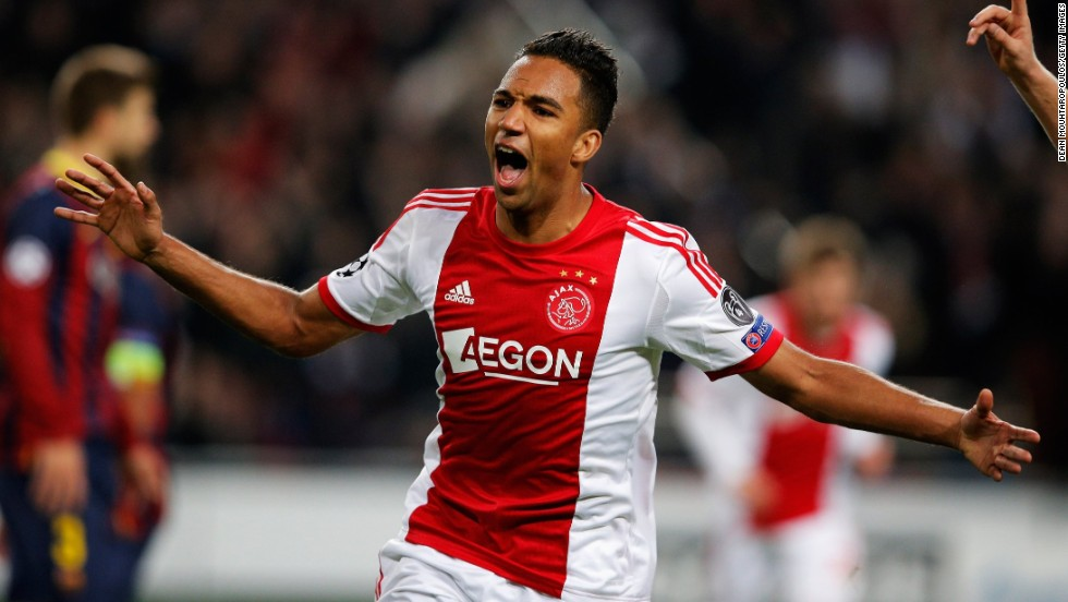 Danny Hoesen celebrates scoring Ajax's second goal at the Amsterdam Arena on Tuesday night.