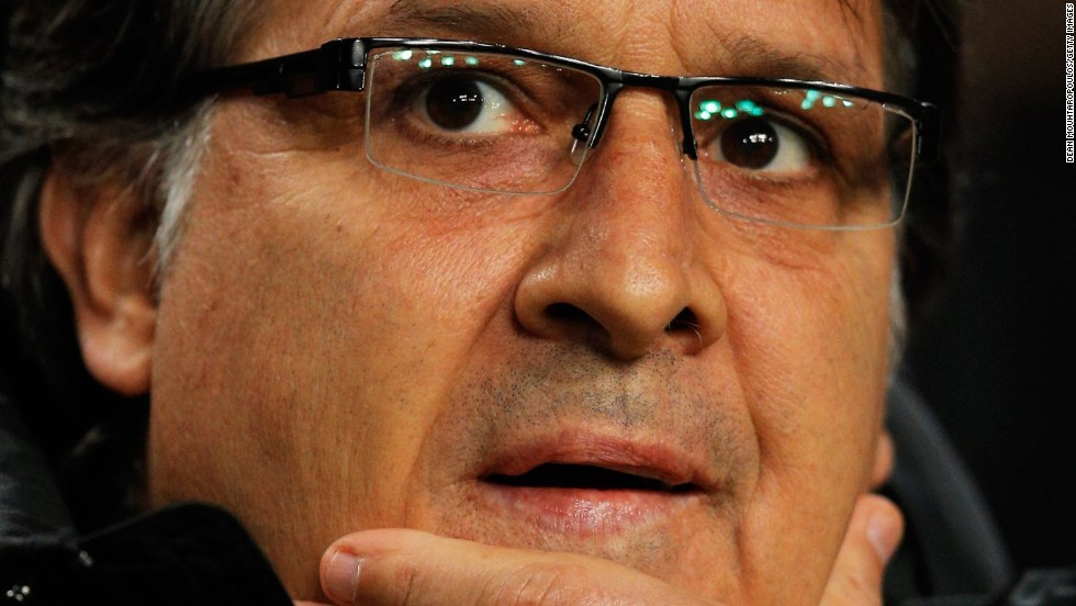 Gerardo Martino looks on anxiously during Barcelona's Champions League tie with Ajax.