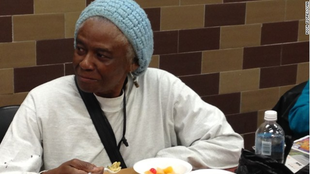 Katherine M. eats at a soup kitchen in New York in order to save her food stamps to feed her grandkids.