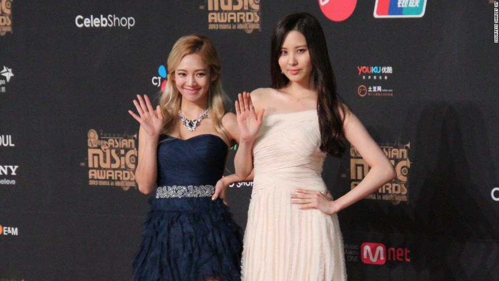 Hyoyeon (left) and Seo-hyun of Girls' Generation represented the 9-member girl group at the Mnet Asian Music Awards in Hong Kong, where they took home Best Female Group.