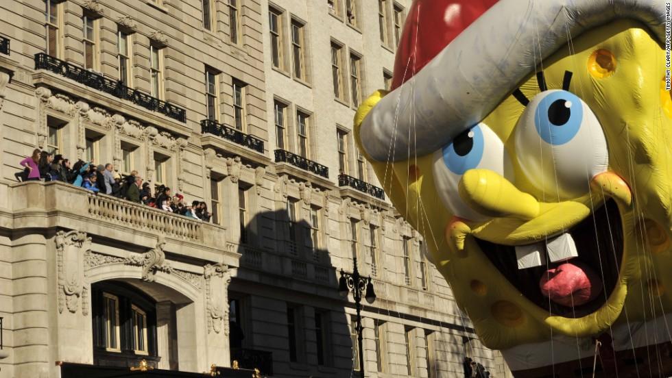 SpongeBob SquarePants makes his way down Central Park West.