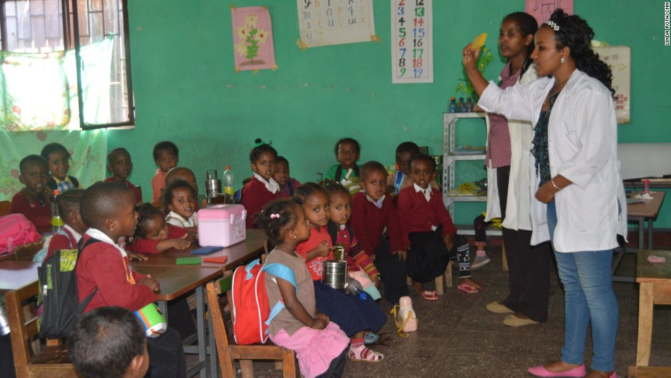 """The group, whose name translates as """"Light from the stars,"""" works with other civil society organizations on projects such as renovating an early childhood development center, where children are taught Amharic and English."""