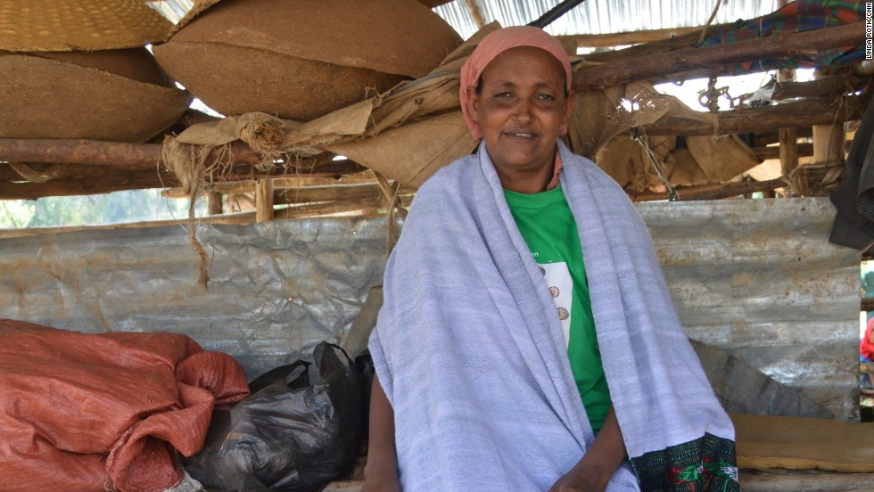Volunteer Alemitu Yemes pictured at her market stall.<br />She has four children of her own and two foster kids, as well as looking after 25 kids from the Yekokeb Berhan program. She's given a small room in her compound, rent free, to a family of five. Everyone except the youngest child is HIV positive.