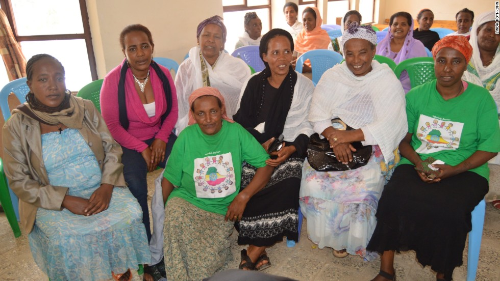 Yekokeb Berhan volunteers look after vulnerable children. Volunteer Leyela Ayele, pictured on the far left, has fostered six children from a family in which the father was sick and the mother has died.