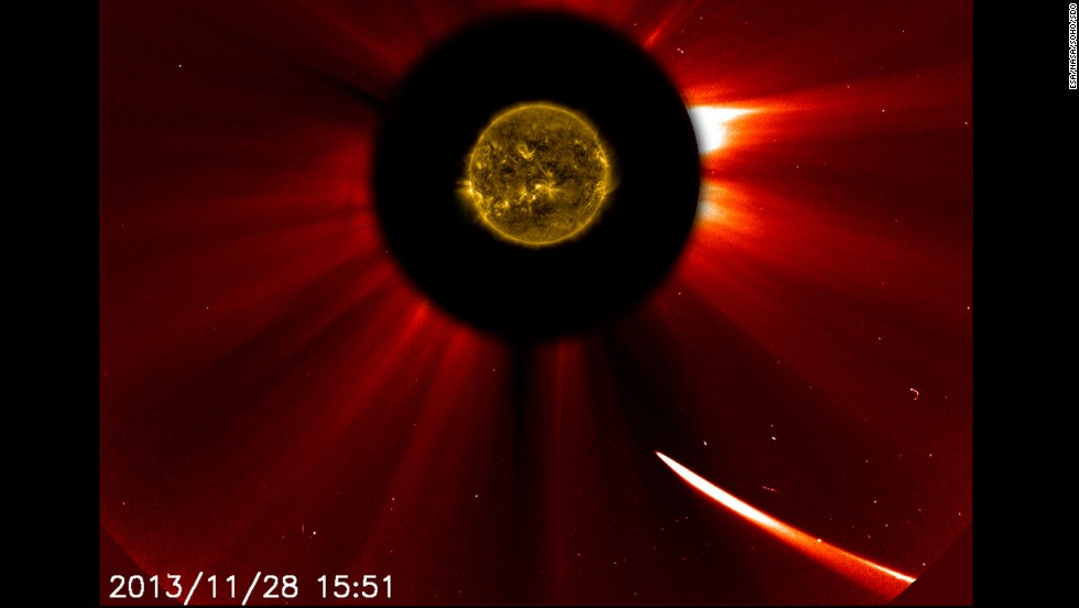 Comet ISON moves close to the sun at 10:51 a.m. ET on November 28.