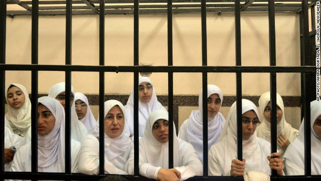 Supporters of ousted President Mohammed Morsi in a courtroom in Alexandria, Egypt, Wednesday, November 27.