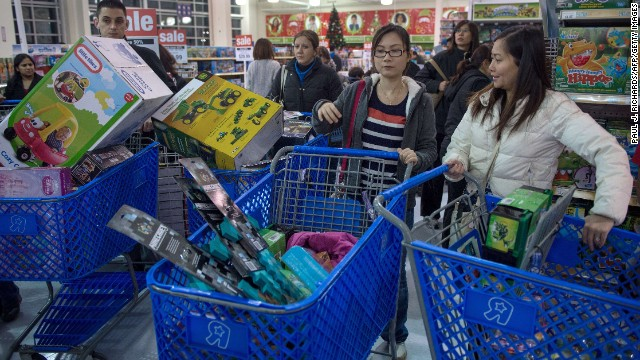 Shoppers hunt for bargains at a Toys 'R Us in Fairfax, Virginia.