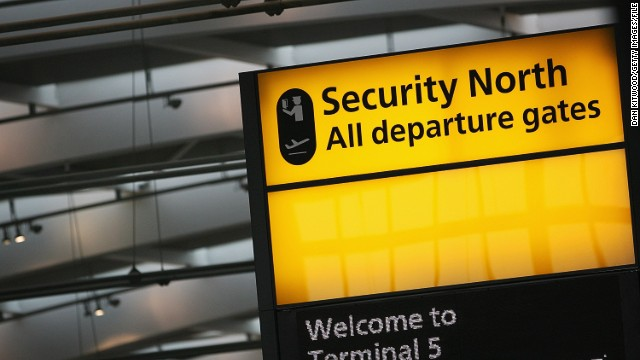 A departure gate sign at Heathrow Airport.