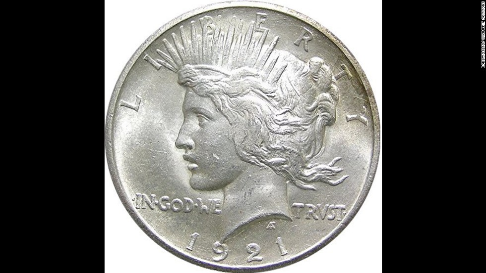 "According to the U.S. Mint, the silver ""Peace"" dollar was produced from 1921 to 1935 to commemorate the end of World War I."