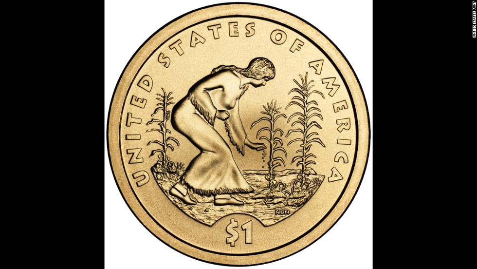 "The ""Three Sisters"" coin features a Native American woman tending her garden. The three plants represent corn, beans and squash, according to the U.S. Mint."